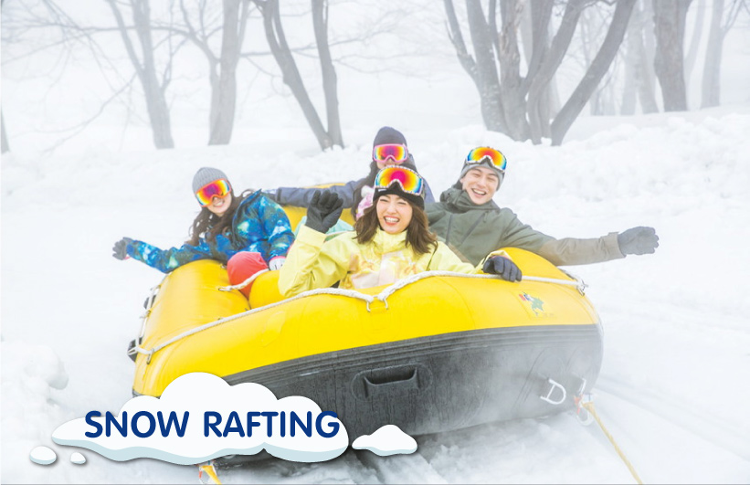 snow rafting at Kiroro